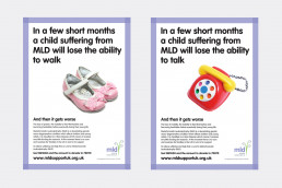 Charity fundraising posters MLD Support Association UK