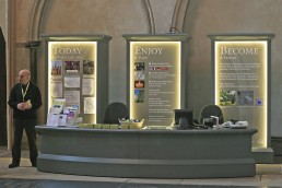 Rochester Cathedral welcome desk and graphics